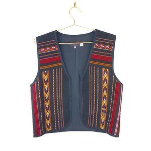 VTG Southwestern Navajo Woven Wool Chimayo Vest